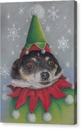 A Furry Christmas Elf Canvas Print by Pamela Humbargar