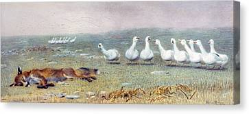 Farm Fields Canvas Print - A Game Of Fox And Geese, 1868 by Briton Riviere