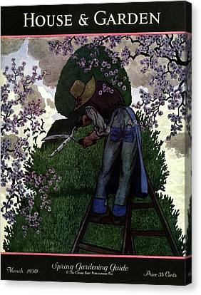 A Gardener Pruning A Tree Canvas Print by Pierre Brissaud