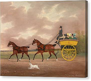 A Gentleman Driving Tandem To A Jaunting Car Going Canvas Print