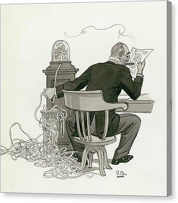 Workers Canvas Print - A Gentleman Reading Next To A Ticket Tape Machine by Pierre Brissaud