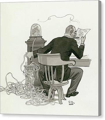 Worker Canvas Print - A Gentleman Reading Next To A Ticket Tape Machine by Pierre Brissaud
