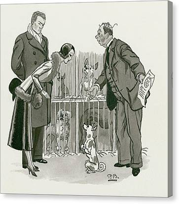 A Gentleman Selling Dogs Canvas Print by Pierre Brissaud