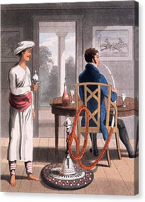 South Asia Canvas Print - A Gentleman With His Hookah Burdah, Or by Charles D'Oyly