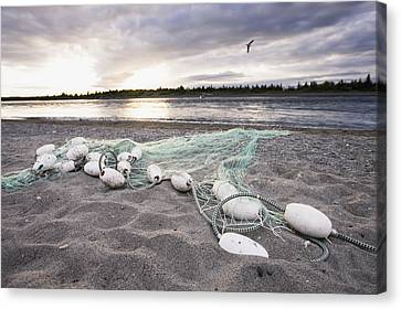 A Gill Net Used For Sockeye Salmon Canvas Print by Scott Dickerson