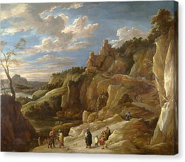 A Gipsy Fortune Teller In A Hilly Landscape Canvas Print