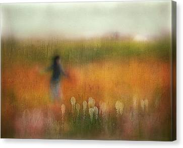 Warm Canvas Print - A Girl And Bear Grass by Shenshen Dou