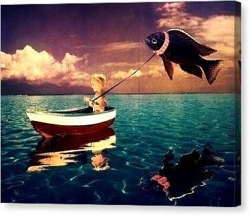 A Girl And Her Fish Canvas Print