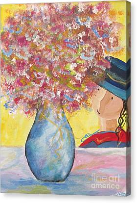 Canvas Print featuring the painting A Girl And Her Flower Vase. by Nereida Rodriguez