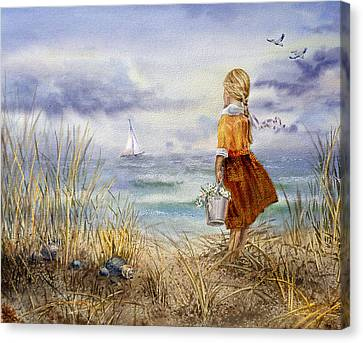 Sea Birds Canvas Print - A Girl And The Ocean by Irina Sztukowski