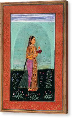 A Girl Holding A Glass & Cup Canvas Print by British Library
