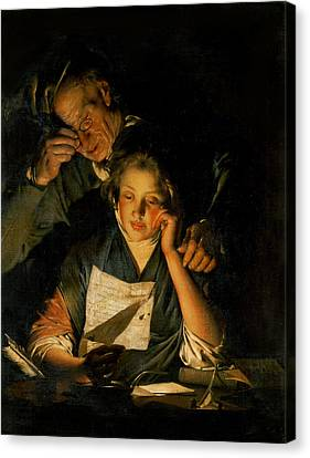 A Girl Reading A Letter, With An Old Man Reading Over Her Shoulder, C.1767-70 Canvas Print by Joseph Wright of Derby