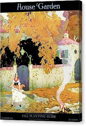A Girl Sweeping Leaves Canvas Print