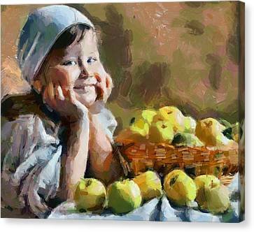 A Girl With Apples Still Life Canvas Print