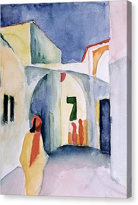 Expressionism Canvas Print - A Glance Down An Alley Wc by August Macke