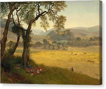 A Golden Summer Day Near Oakland Canvas Print by Albert Bierstadt