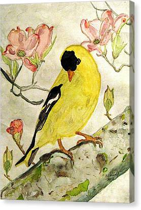 A Goldfinch Spring Canvas Print by Angela Davies