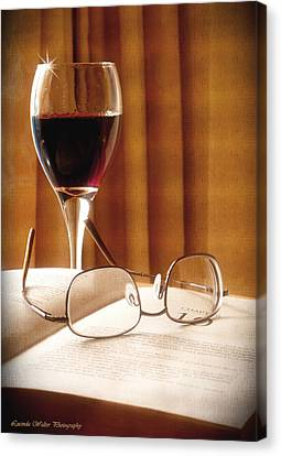 A Good Book And A Glass Of Wine Canvas Print by Lucinda Walter