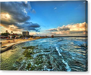 Canvas Print featuring the photograph a good morning from Hilton's beach by Ron Shoshani