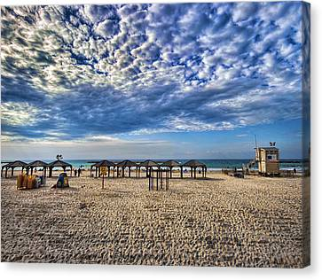 Canvas Print featuring the photograph a good morning from Jerusalem beach  by Ron Shoshani