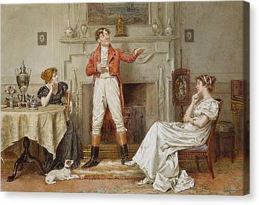 A Good Story Canvas Print by George Goodwin Kilburne