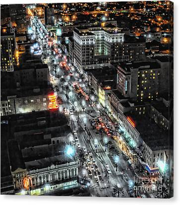 A Gothic Night In New Orleans On Canal Street Canvas Print by Kathleen K Parker