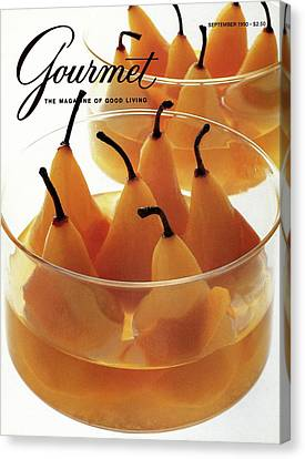 Pear Canvas Print - A Gourmet Cover Of Baked Pears by Romulo Yanes