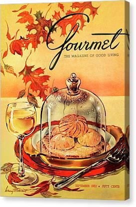 Mushroom Canvas Print - A Gourmet Cover Of Mushrooms On Toast by Henry Stahlhut