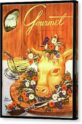 A Gourmet Cover Of Tete De Veau Canvas Print by Henry Stahlhut