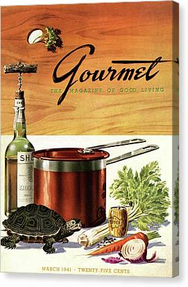 1941 Canvas Print - A Gourmet Cover Of Turtle Soup Ingredients by Henry Stahlhut