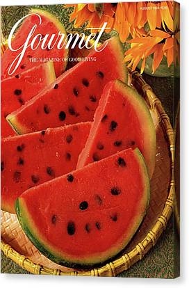 Sorbet Canvas Print - A Gourmet Cover Of Watermelon Sorbet by Romulo Yanes