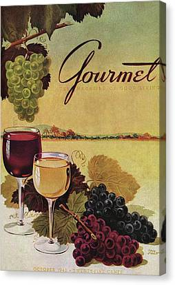 Winemaking Canvas Print - A Gourmet Cover Of Wine by Henry Stahlhut