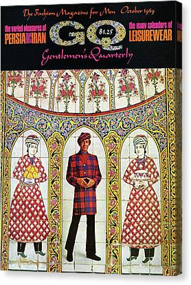 Tartan Canvas Print - A Gq Cover Of A Model With A Persian Mosaic by Leonard Nones