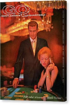 A Gq Cover Of Models At Casino De Capri In Havana Canvas Print by Richard Waite