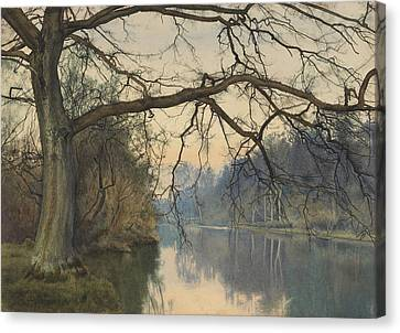 A Great Tree On A Riverbank Canvas Print by William Fraser Garden