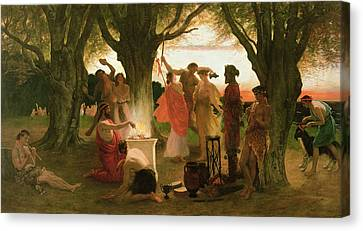 A Greek Festival Oil On Canvas Canvas Print by Thomas Ralph Spence