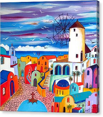 A Greek Mill And The Colors Of Oia Santorini  Canvas Print by Roberto Gagliardi