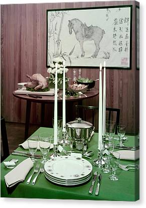 A Green Table Canvas Print by Wiliam Grigsby