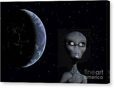 A Grey Alien With Planet Earth Canvas Print