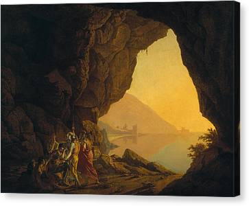 A Grotto In The Kingdom Of Naples, With Banditti, Exh. 1778 Canvas Print by Joseph Wright of Derby