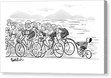 Race Canvas Print - A Group Of Bikers Race Competitively. At The End by Liam Walsh