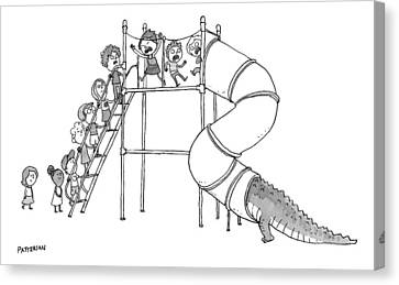Slide Canvas Print - A Group Of Children Are Lined Up To Go by Jason Patterson