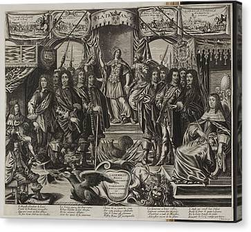 A Group Of Noblemen With An Allegorical F Canvas Print by British Library