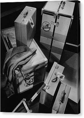 A Group Of Suitcases Ready For Travel Canvas Print