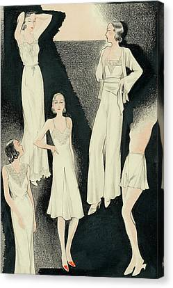 A Group Of Women Wearing White Designer Dresses Canvas Print by Alix Zeilinger