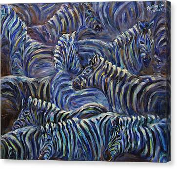 Canvas Print featuring the painting A Group Of Zebras by Xueling Zou