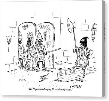 A Guard Leading A Queen Speaks To An Executioner Canvas Print by David Sipress