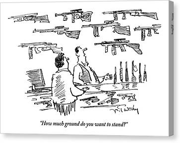 A Guns Salesman Speaks To A Customer. How Much Canvas Print by Mike Twohy