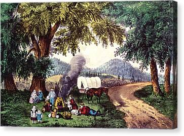 A Halt By The Wayside  Canvas Print by Currier and Ives