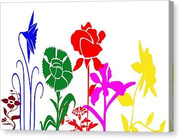 Digital Installation Art Canvas Print - A Happy Garden by Tina M Wenger